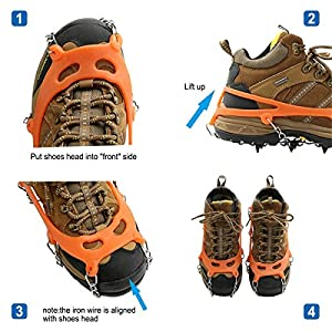 CHRISTYZHANG 8 Teeth Ice Claws Crampons Non-slip Shoes Cover Stainless Steel Chain Outdoor Ski Ice Snow Shoes Grips Traction Cleats Grippers Crampons for Outdoor Walking Hiking - One Pair