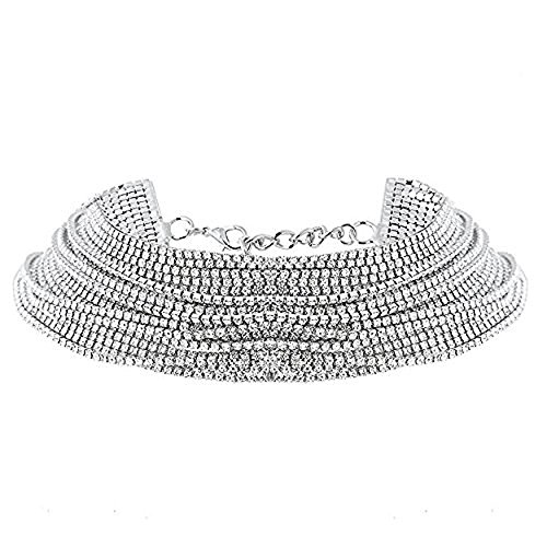 JolieHome Multilayer Collar Choker Crystal Rhinestones Necklace Crystal Collar Necklace Fashion Jewelry for Night Club Party and Porm (Silver) (Collar Rhinestone Party)