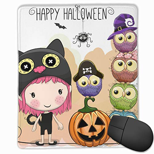 AVBER Mouse Pad Anti Slip Halloween Card with Girl and Owls Mouse Mat for Desktops Computer PC and Laptops, Customized Mouse Pad for Office and Home]()