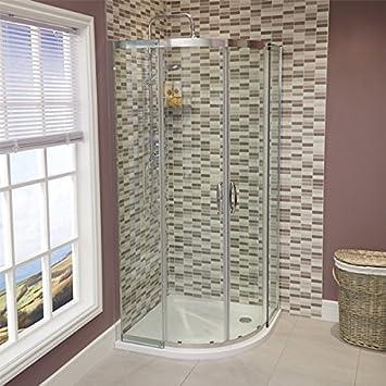 Mampara de ducha cabina de Walk In para puerta corredera 8 mm esquinera con 900 x 900 (reversible* Tamaño ajustable *) limpiar o cama de matrimonio entrada diseño de fácil acceso: Amazon.es: