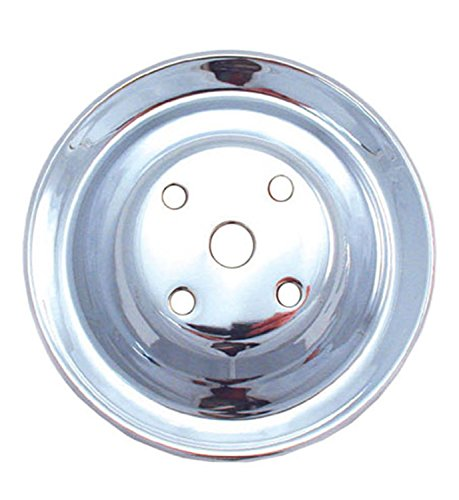 Spectre Performance 4418 Double Belt Groove Water Pump Pulley for Small Block Chevy, Chrome Chrome Belt Pulley
