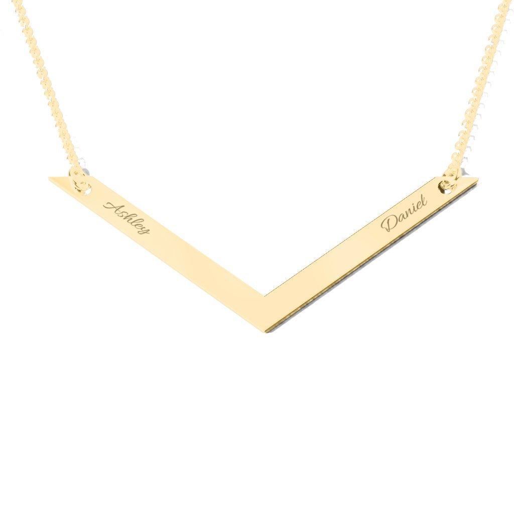 14K Gold V Is For Valentine Engravable Necklace by JEWLR