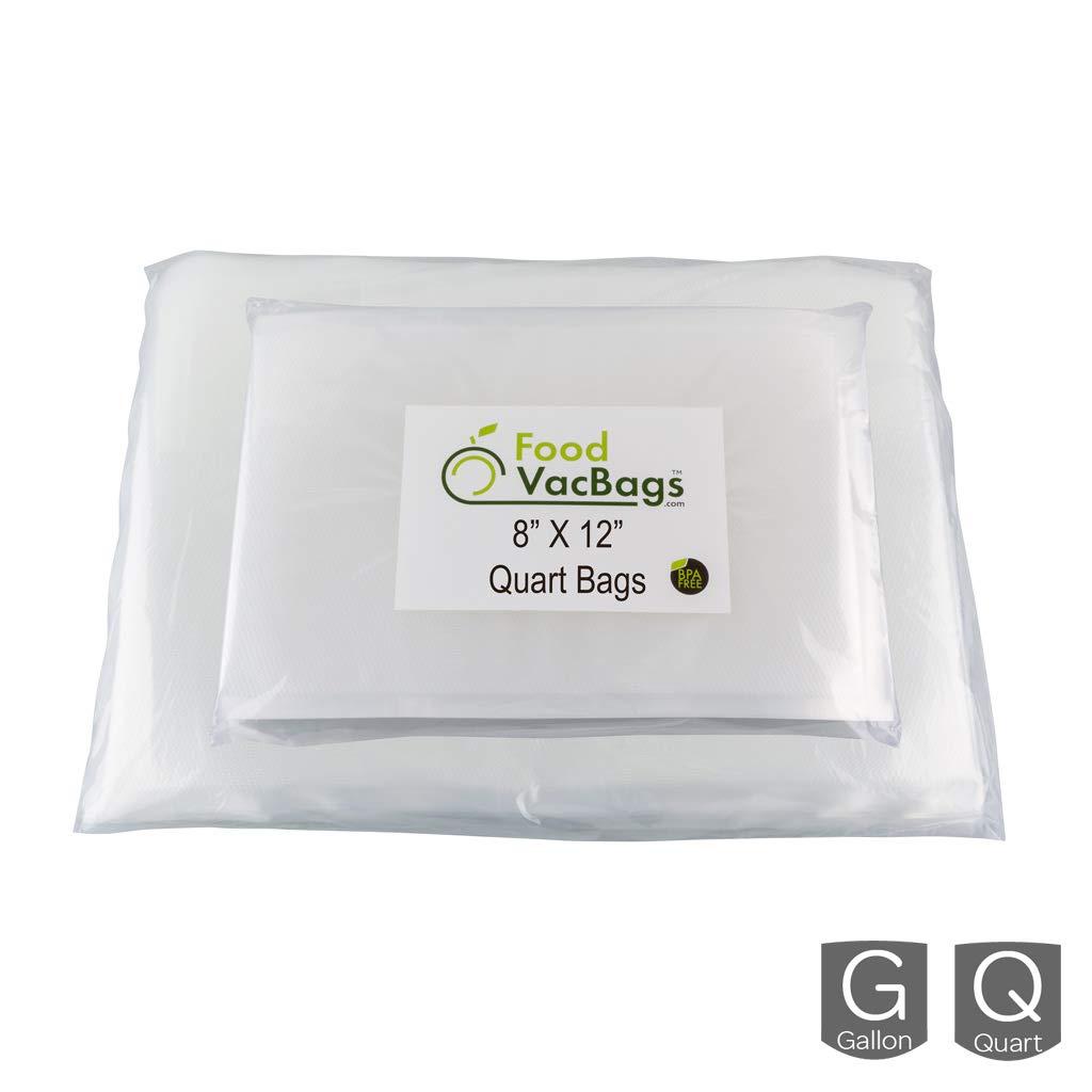 100 Vacuum Seal Storage Bags   50 Quart 8'' X 12'' & 50 Gallon 11'' X 16''   Foodsaver Compatible Universal Design   Sous Vide Heavy Duty Pre-Cut Bags by FoodVacBags