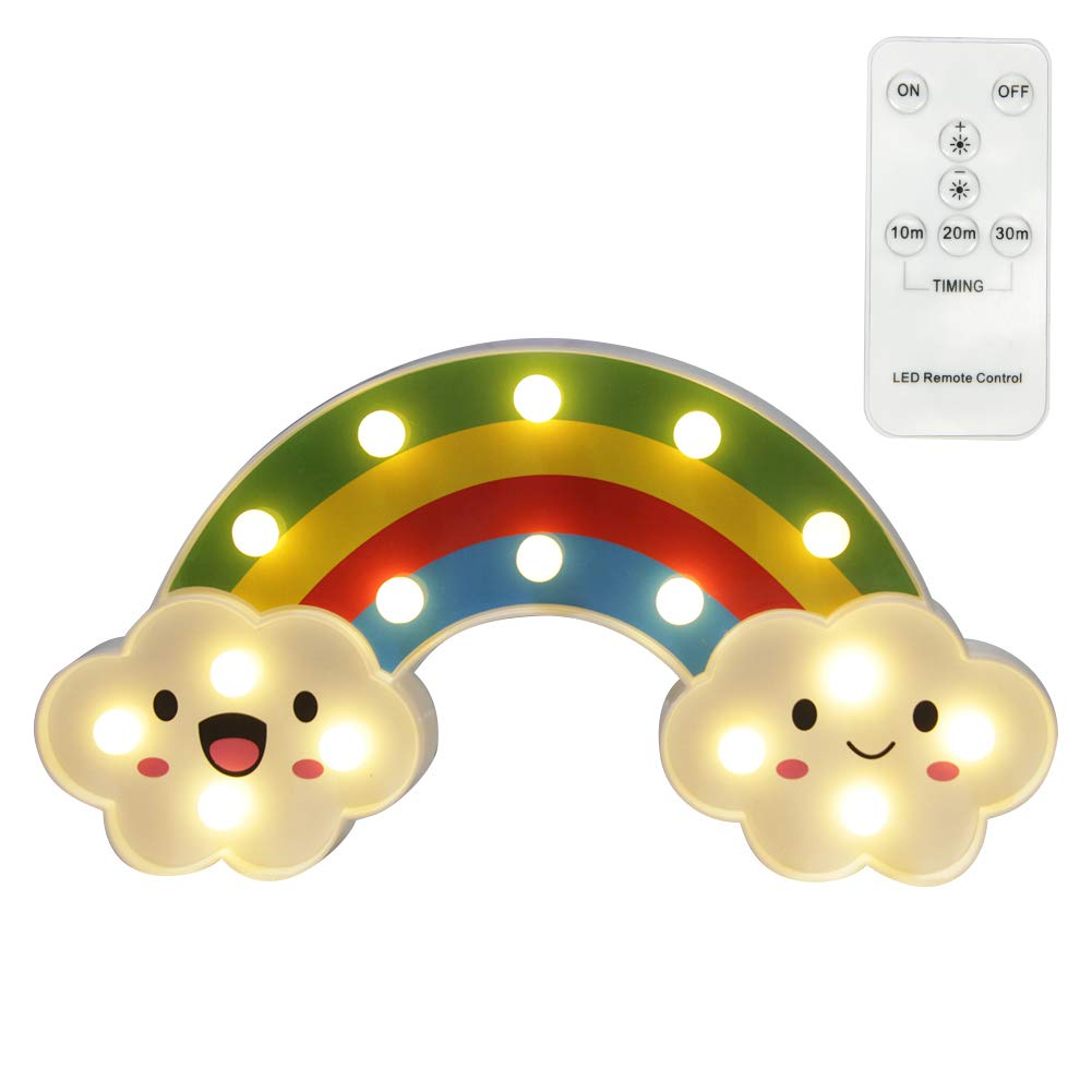 WHATOOK [New Improved] LED Rainbow Night Light with Remote Control&Manual Control Battery Operated Nursery Decor Lamp for Home Great Gift for Baby Kids Teens(Warm White).