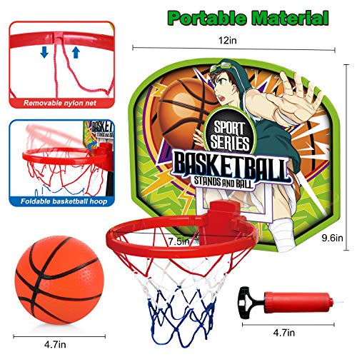 Mini Toddlers Basketball Hoop Set, Exercise N Play Easy Score Toddlers Basketball Set with Adjustable Stand for Kids Boys Girls 3-5 Years Indoor Outdoor Sport Training Shooting