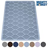 MIGHTY MONKEY Premium Cat Litter Trapping Mats, Phthalate Free, Best Scatter Control, Jumbo XL Sizes (35' x 23'), Mat Traps Litter, Easy to Clean, Soft on Kitty Paws (Light Blue)