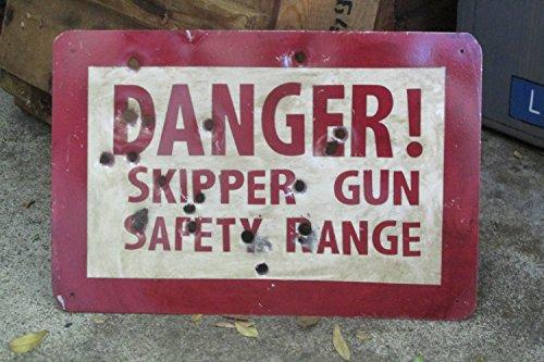 Danger! Skipper Gun Safety Range - Disneyland's Jungle Cruise inspired metal sign.