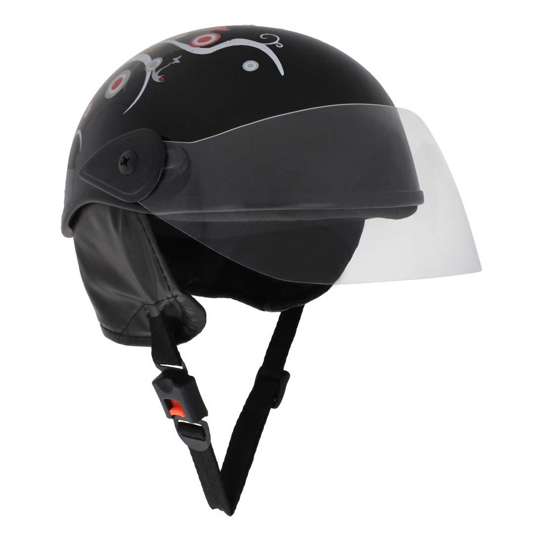 Sage Square Ladies Scooty Helmet Black Glossy Sticker Design 1