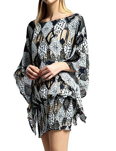 Kimono Womens Dresses Tunic Floral Dress for Women Off The Shoulder Summer Boho Top Sexy Mini Blouse