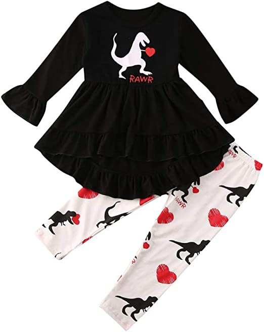 Valentine/'s Day Kid Baby Girl Clothes Ruffle Tops Dress Animal Long Pants Outfit