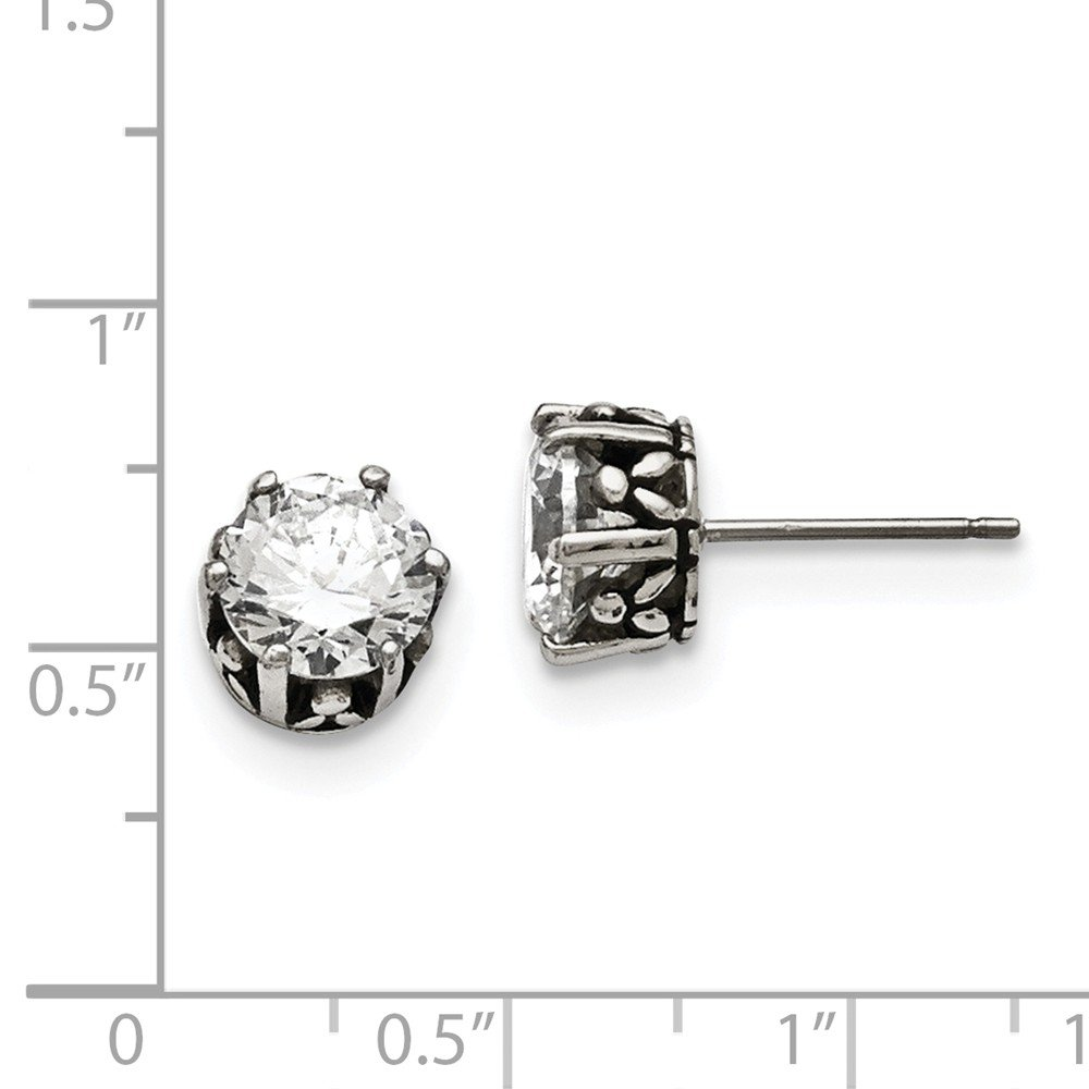 Stainless Steel Antiqued Round CZ Post Earrings 9mm