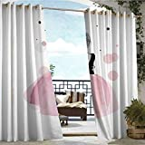 Andrea Sam Outdoor Balcony Privacy Curtain Cute Cartoon Girl in Beautiful Dress Embrace Herself,W72 xL84 Silver Grommet Top Drape