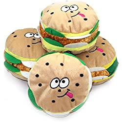 Bazzano Cute Dog Toys Pet Puppy Cat Chew Squeaker Squeaky Plush Hamburger HOT