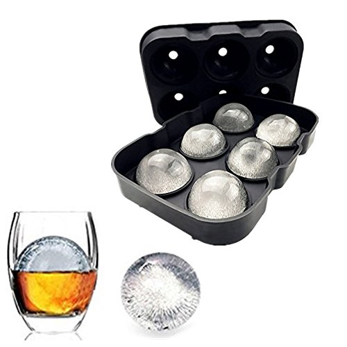 Price comparison product image Silicone Ice Cube Trays Combo Round Ice Ball Spheres Ice Cube Tray Mold (6 Round Ice Ball BlackSpheres)