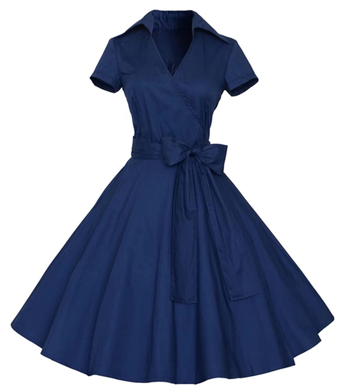 Joansam Womens Polka Dot Dresses,50s Style Short Sleeves Rockabilly Vintage Dress