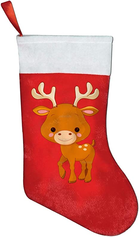 Amazon Com Deer Cartoon Christmas Stockings Fireplace Hanging Stockings For Family Christmas Decoration Holiday Season Party Decor Home Kitchen