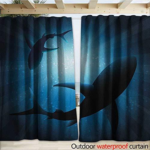warmfamily Shark Drape for Pergola Silhouette of The Fishes Swimming at Twilight Night Moon Mystic Magical Sea Scenery W120 x L96 Dark Blue