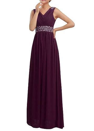 Huafeiwude Women's V Neck Chiffon Floor Length Long Evening Dresses