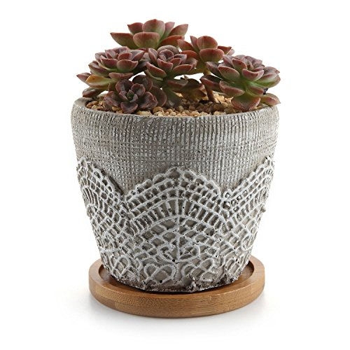 T4U 3.75 Inch Cement Lace Pattern Pot, Succulent Plant Planter Cactus Plant Container Classic Design with Bamboo Tray - Pack of 1