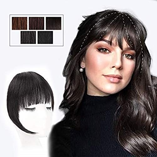 HMD Clip in Bangs 100% Human Hair Extensions Untreated Black Clip on Fringe Bangs with nice net Natural Flat neat Bangs with Temples for Women One Piece Hairpiece for Daily Wear(Color:Untreated Black)