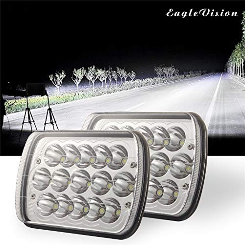 (YunZyun Car Lights Square 3 Row 5x7 300W LED Headlight DRL Hi/Lo Sealed Beam Projector Driving Lamp High Brightness)