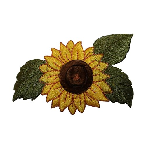 ID #6038 Sunny Sunflower Garden Plant Bloom Embroidered Iron On Applique Patch