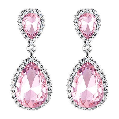 EVER FAITH Women's Austrian Crystal Wedding Tear Drop Dangle Earrings Pink Silver-Tone (Pink Clear Crystal Drop Earrings)