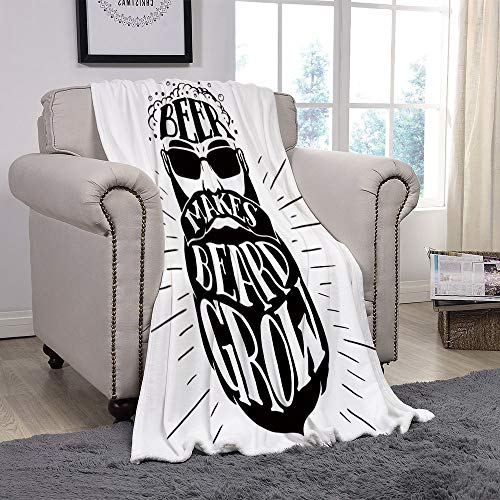 YOLIYANA Light Weight Fleece Throw Blanket/Man Cave Decor,Beer Makes Beard Grow Oktoberfest Inspired Illustration Man Portrait,Black and White/for Couch Bed Sofa for Adults Teen Girls Boys