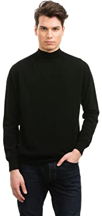 Mens Mock Turtleneck - 100% Cashmere - by Citizen Cashmere, Black ...