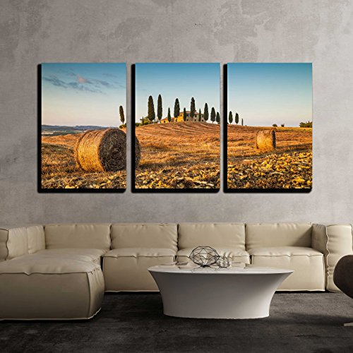 wall26 - 3 Piece Canvas Wall Art - Beautiful Tuscany Landscape with Traditional Farm House and Hay Bales - Modern Home Decor Stretched and Framed Ready to Hang - 16