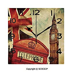 SCOCICI 8 Inch Square Face Silent Wall Clock Vintage Style Symbols of London with National Flag UK Great Britain Old Clock Tower Decorative Unique Contemporary Home and Office Decor