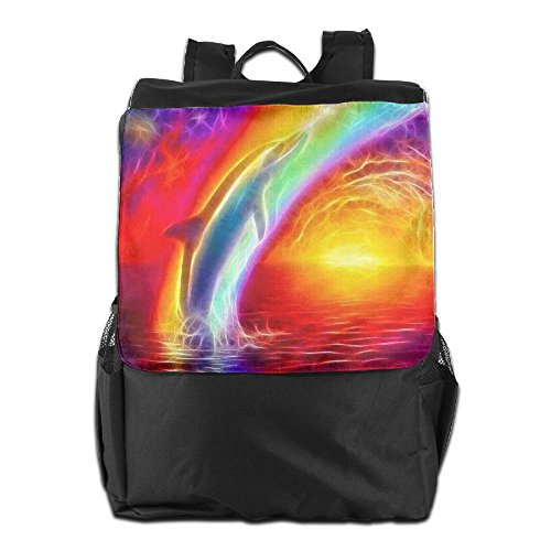 Backpack Camping Dolphins Travel The School For Strap Outdoors Adjustable Dayback And Storage Shoulder Rainbow HSVCUY Women Over Personalized Men EqIqS