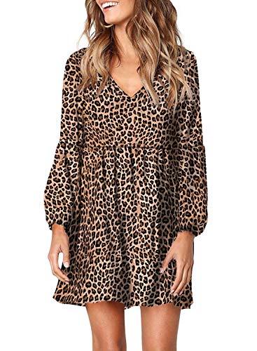 Asvivid Damen Tunika-Kleid, Leopardenmuster, Rüschen, V-Ausschnitt, fließend, locker