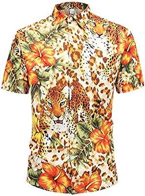 GZYD Camisa Hombre Manga Corta Huella Animal Suelto Rebeca Grande Capa Moda Poliéster Botón Solapa Camiseta Juventud Tendencia Vacaciones Playa Hawai Camisa Camiseta,M: Amazon.es: Deportes y aire libre