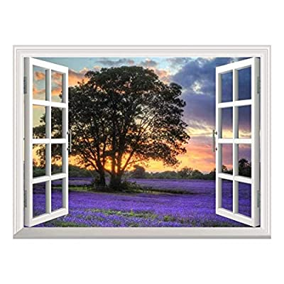 Removable Wall Sticker/Wall Mural - Sunset on a Purple Field | Creative Window View Wall Decor - 24