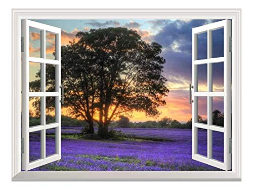 Removable Wall Sticker Wall Mural Sunset on a Purple Field Creative Window View Wall Decor