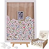 Wedding Guest Book, Y&K Homish Wooden Picture Frame, Drop Top Frame Sign Book with 100PCS Wooden Hearts, Rustic Wedding Decorations and The Wedding Gift (White Wooden Frame + Photo)