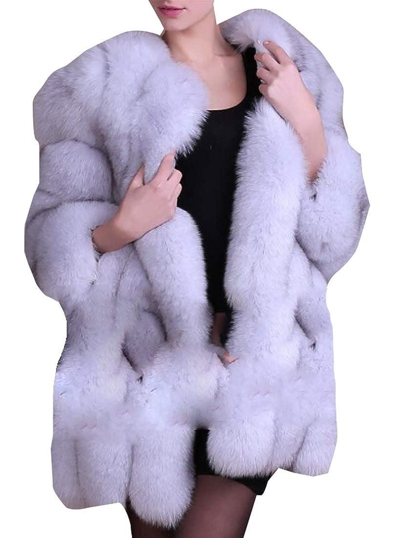 2 LEISHOP Women Winter Long Sleeve Open Coat Faux Fur Front Short Cardigan Jacket