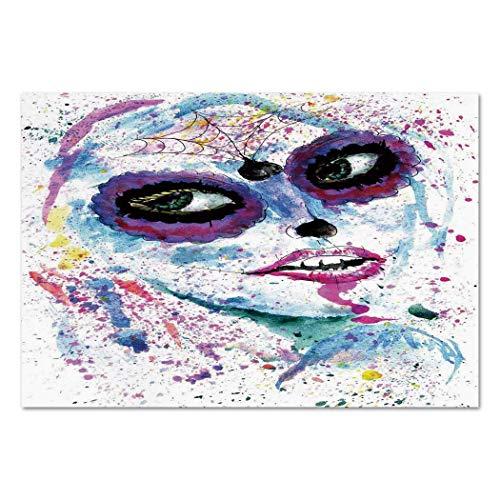 VAMIX Sticker [ Girls,Grunge Halloween Lady with Sugar Skull Make Up Creepy Dead Face Gothic Woman Artsy,Blue Purple ] Self-Adhesive Vinyl Wallpaper/Removable Modern Decorating Wall Art ()