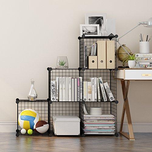 LANGRIA Storage Cubes Organizer, Modular Cube Shelving Grids, DIY Closet Organization System, Metal Wire, Bookcase, Cabinet, (6 - Regular Cube) (Line Shelving Open)