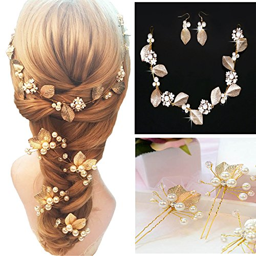 Price comparison product image Set of 7 Pcs Wedding Brida Golden Leaves Pearl Rhinestone Hairpin Headwear Wedding Dress Accessories - Include 1 Pc Headband 1 Pair Earring and 4 Pcs U-shaped Hair Pins Clip