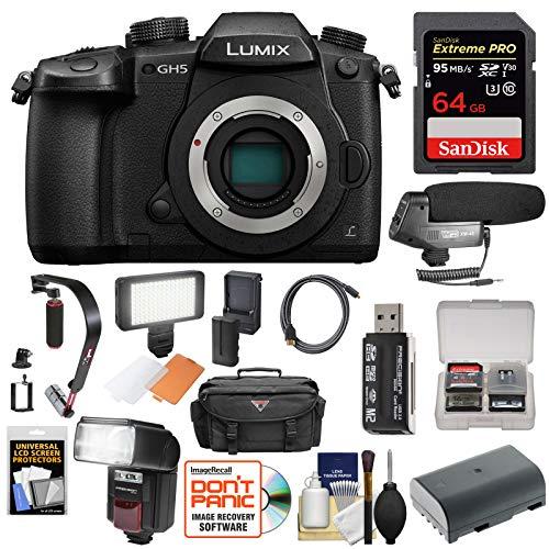Panasonic Lumix DC-GH5 Wi-Fi 4K Digital Camera Body with 64GB Card + Case + Flash + Battery + Mic + Video Light + Stabilizer + Kit