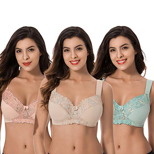 (Curve Muse Plus Size Minimizer Unlined Wirefree Bra with Lace Embroidery-3Pack-SAGE,Nude,BLUSH-40C )