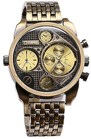 PASOY Mens Retro Style Copper Watch Big Dial 50MM two Time Zone Military Antique Quartz Analog (Men Antique Watch)
