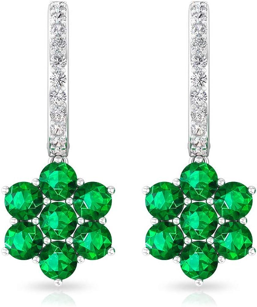 Pendiente de aro de diamante con certificado SGL de 1,92 quilates, piedra natal verde de mayo, racimo de flores, boda, boda, aniversario de mujer, con clip.