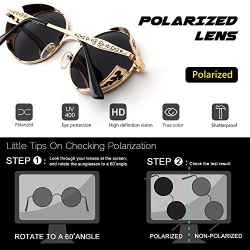 círculo estilo gafas redondo metálico Gris E71 Steampunk hombres para inspirado retro A sol CGID Dorado de polarizadas ECX0q8
