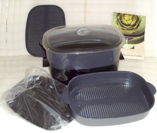 Tupperware Black/Cosmos Oval Stack Cooker Steamer Microwave Set