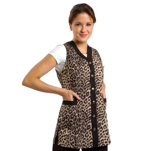 Sleeveless Leopard Salon Smock (XL (12)) by JMT Beauty