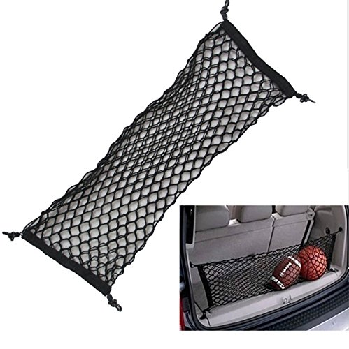 Aochol Adjustable Elastic Heavy Duty Cargo Net - Nylon Car Trunk Rear Cargo Organizer - for Car, SUV, Truck - Black ()