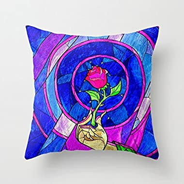 Beauty And The Beast Red Rose Flower Decorative Throw Pillow Cover 18 x 18 Valentines Day Gifts by LOOKTY